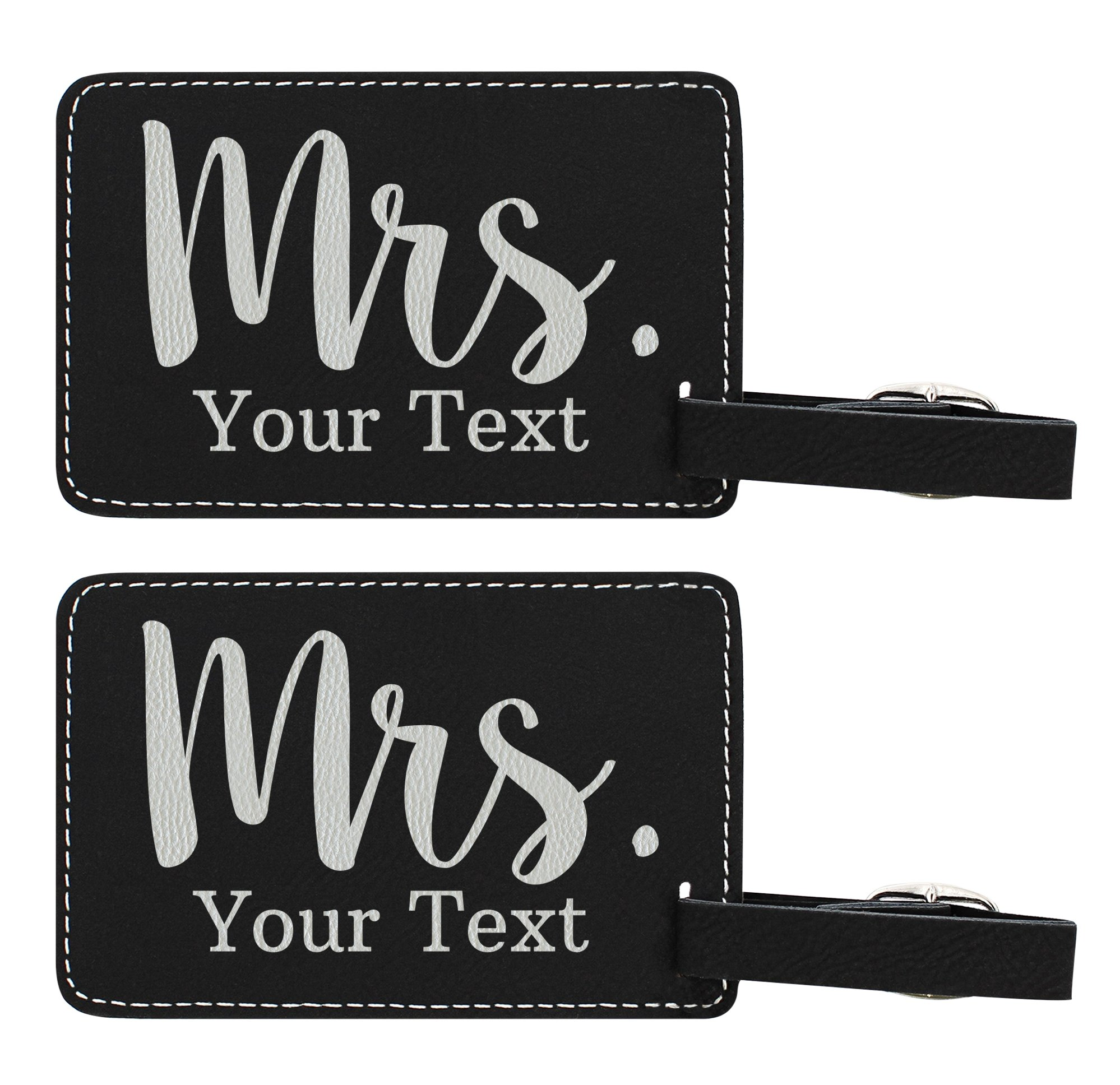 Personalized Wedding Anniversary Gifts Custom Last Name Mrs Name Personalized Wedding Gifts Personalized 2-pack Laser Engraved Leather Luggage Tags Black