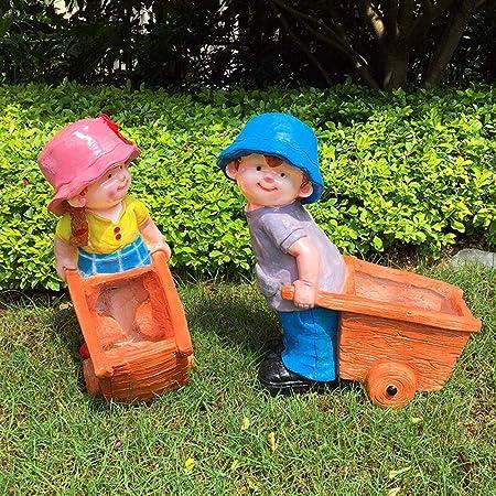 Figurines para jardín, Jardín de esculturas al aire libre decoración de jardín de infancia del personaje Bosque escultura de resina artesanal Decoración Creative Child para Jardines en Miniatura: Amazon.es: Hogar