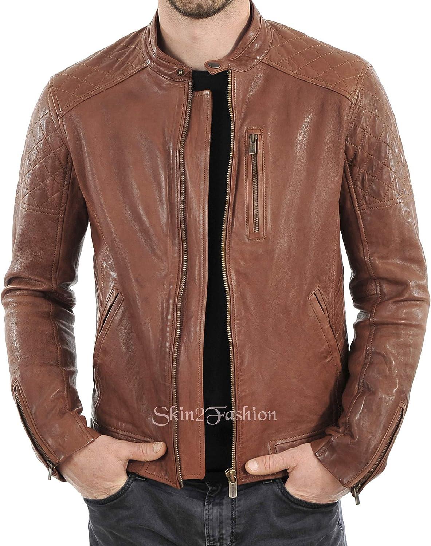 Mens Leather Jackets Motorcycle Bomber Biker Genuine Lambskin 16