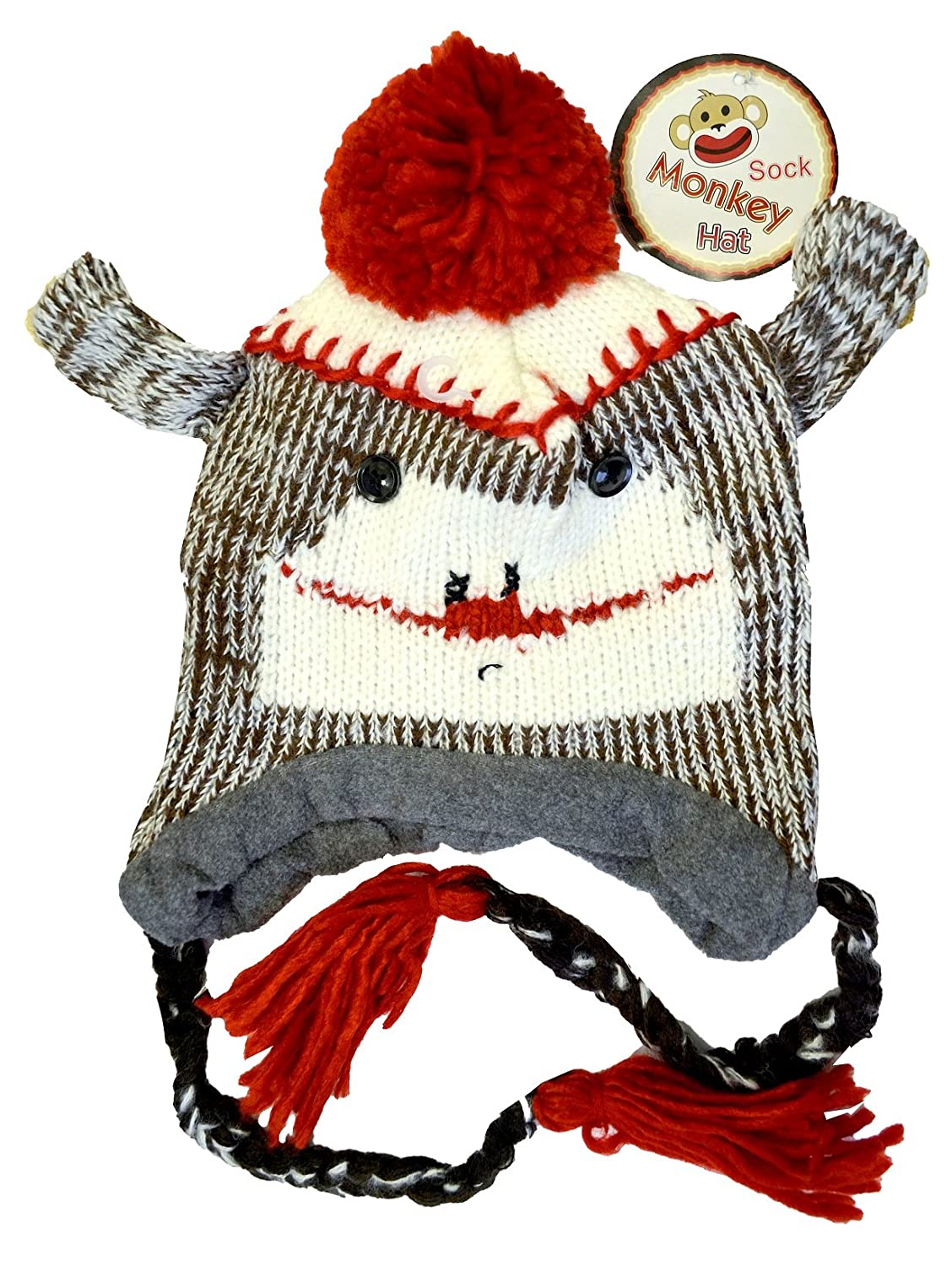 eee4a24f5f9 Sock Monkey Cap   Hat with Ear Flaps and Poms at Amazon Women s Clothing  store  Novelty Knit Caps