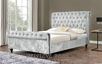 Pristine New Stunning Crushed Velvet Luxurious Chesterfield Bed