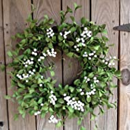 """Flora Decor Green with White Berry Wreath - 22"""""""