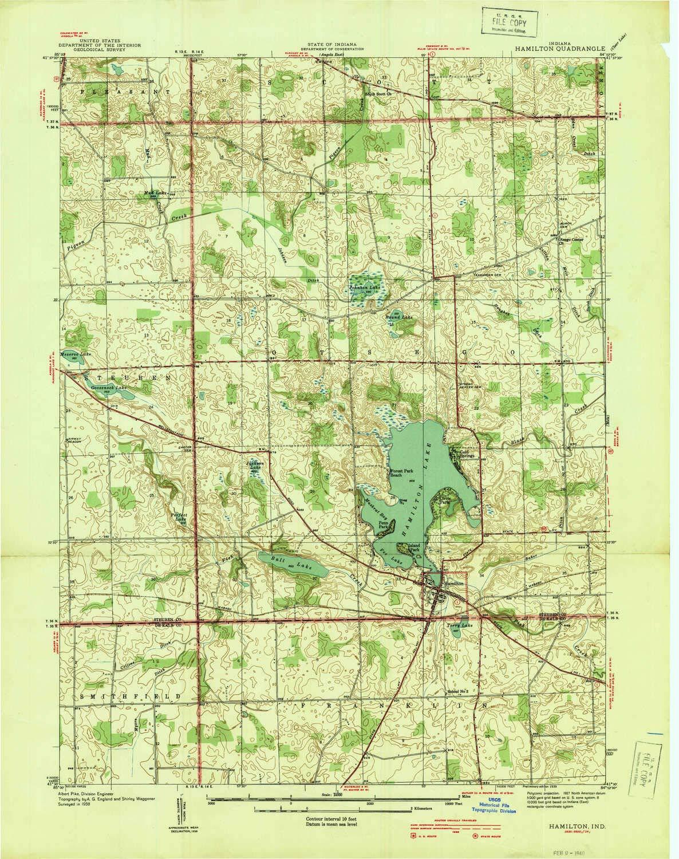 YellowMaps Hamilton in topo map 1939 Historical 26.9 x 21.2 in 1:24000 Scale 7.5 X 7.5 Minute