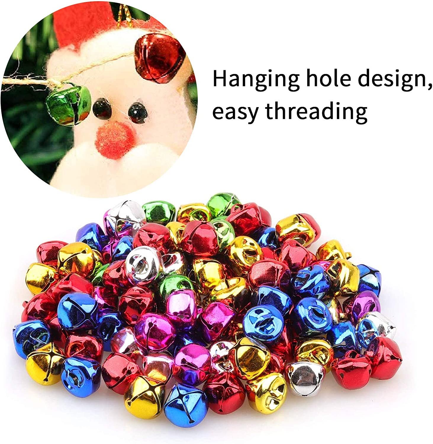 Christmas Decorations,Jingle Bell of Various Sizes 0.3//0.4//0.47 Inch 30 PCS Christmas Bells,Color Bell,Jingle Bells for Crafts,Party Decorations