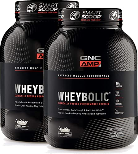GNC AMP Wheybolic - Classic Vanilla, Twin Pack, 25 Servings Each, Increases Muscle Performance and Size
