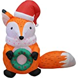 5 Foot Tall Lighted Christmas Inflatable Fox with Christmas Hat and Wreath Indoor Outdoor Yard Decoration
