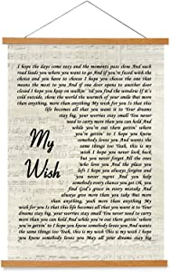 kasader My Wish Poster Unique Quote Personalized Song Gift Lyric Retro Wall Art Gift Print Canvas Wood Reel Home Decor 18x12in