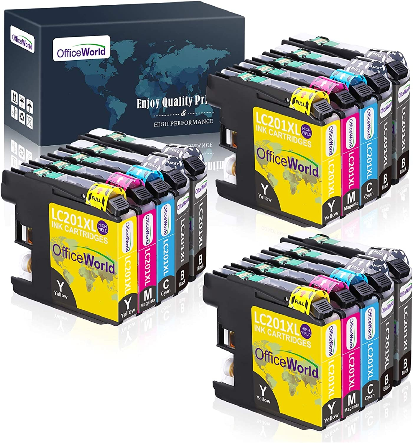 OfficeWorld Compatible LC 201 LC 203 Ink Cartridges Replacement for Brother LC201XL LC203XL, for MFC-J480DW MFC-J880DW MFC-J4420DW MFC-J680DW MFC-J885DW 15 Pack(6 Black,3 Cyan,3 Magenta,3 Yellow)