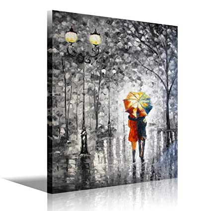 Canvas wall art romantic beautiful palette knife oil painting pictures modern abstract artwork black and white