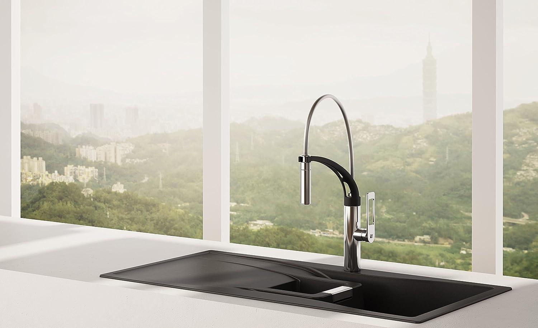 awa - jun - rubinetto miscelatore da cucina con doccetta - nero e ... - Miscelatore Nero Con Doccetta