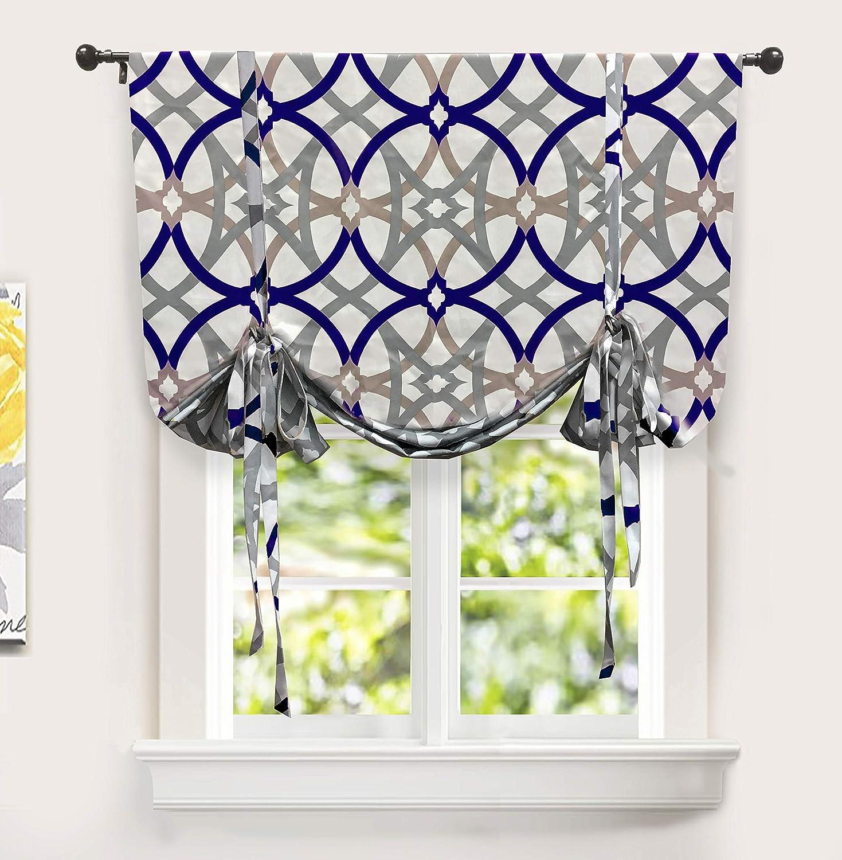 "DriftAway Alexander Tie Up Curtain, Spiral Geo Trellis Pattern Room Darkening/Thermal Insulated Blackout Window Curtain, Adjustable Balloon Curtain for Small Window, Rod Pocket, 45""x63"" (Navy/Gray)"