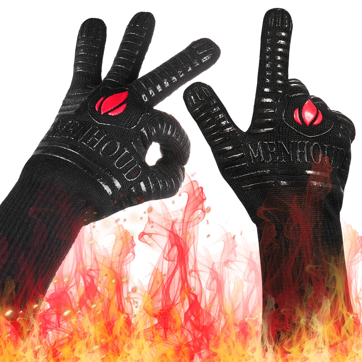 1472℉ Extreme Heat Resistant BBQ Gloves, Food Grade Kitchen Oven Gloves - Flexible Hot Grilling Gloves with Cut Resistant, Silicone Non-Slip Cooking Gloves for Grilling, Welding, Cutting (1 Pair) by Landteek