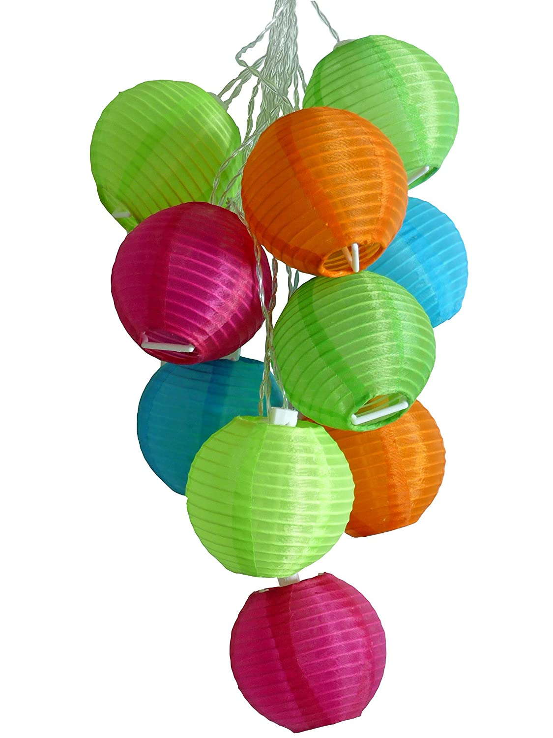 Allsop Home and Garden Soji Solar String Lights, Globe Style LED Outdoor Solar Lanterns, Handmade with Weather-Resistant UV Rated Fabric, for Decks, Gardens, Gazebos, Weddings, Mini Chinese Style Lights, (Tropical Fruit)