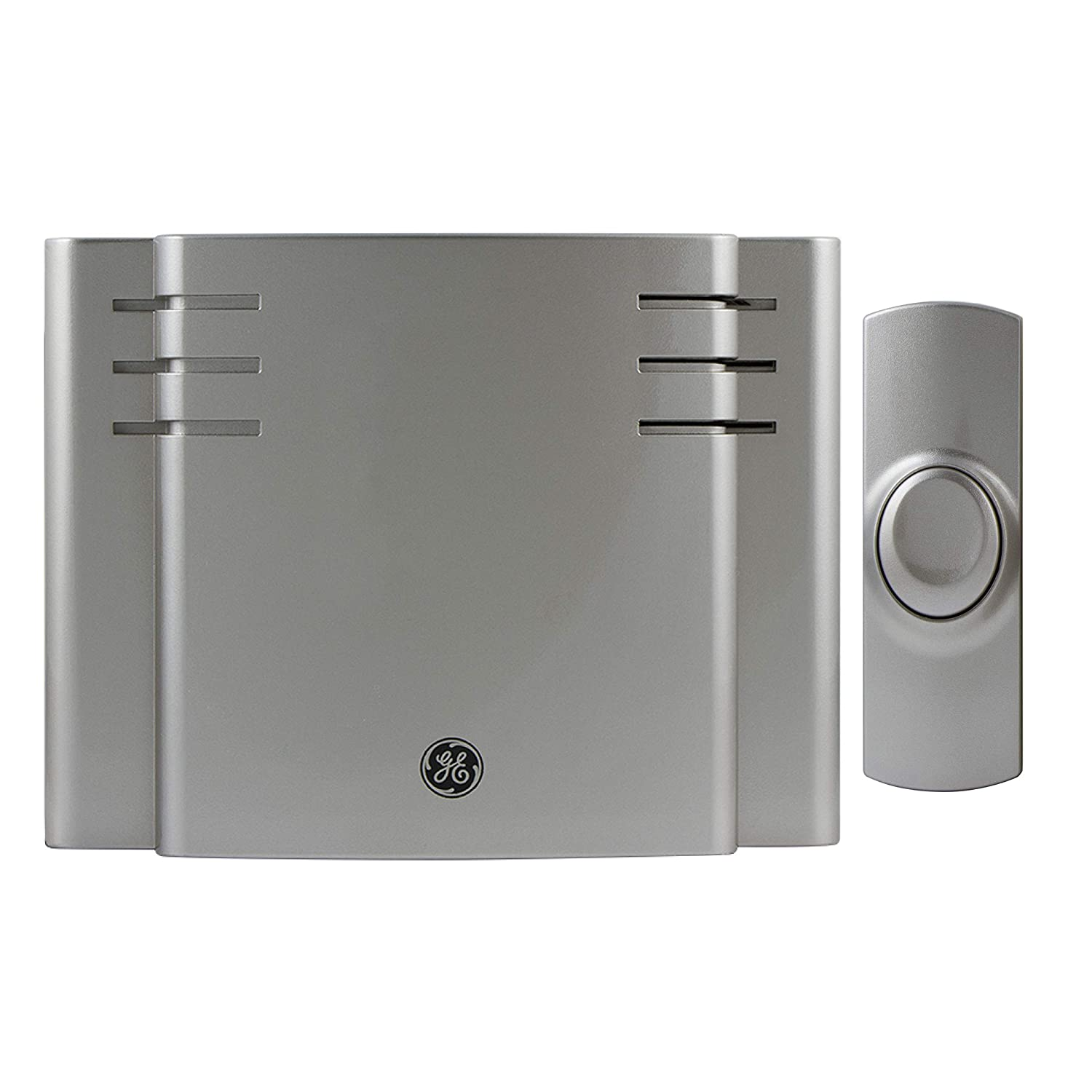GE 19303 RA26567 Battery-Operated Wireless Door Chime, 8 Melodies, Satin Nickel