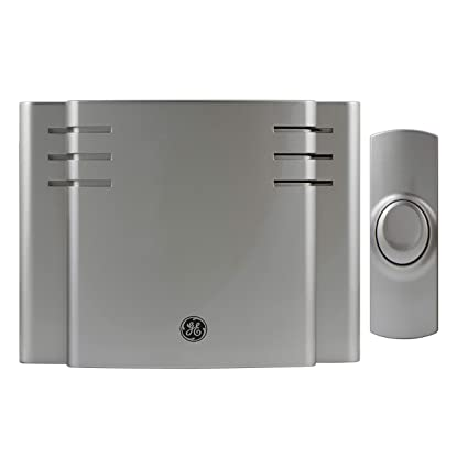 GE 19303 RA26567 Battery-Operated Wireless Door Chime, 8 Melodies Satin  Nickel