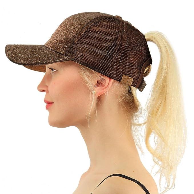 FCX-Fashion Women Ponytail Baseball Cap Sequin Messy Bun Snapback Sun Mesh  Hat  Amazon.ca  Clothing   Accessories 0a0c48be4791