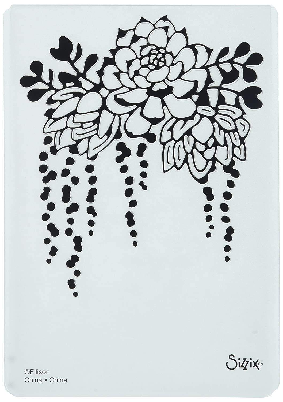 Sizzix 661934 Textured Impressions Embossing Folder Elegant Succulents, Red Ellison