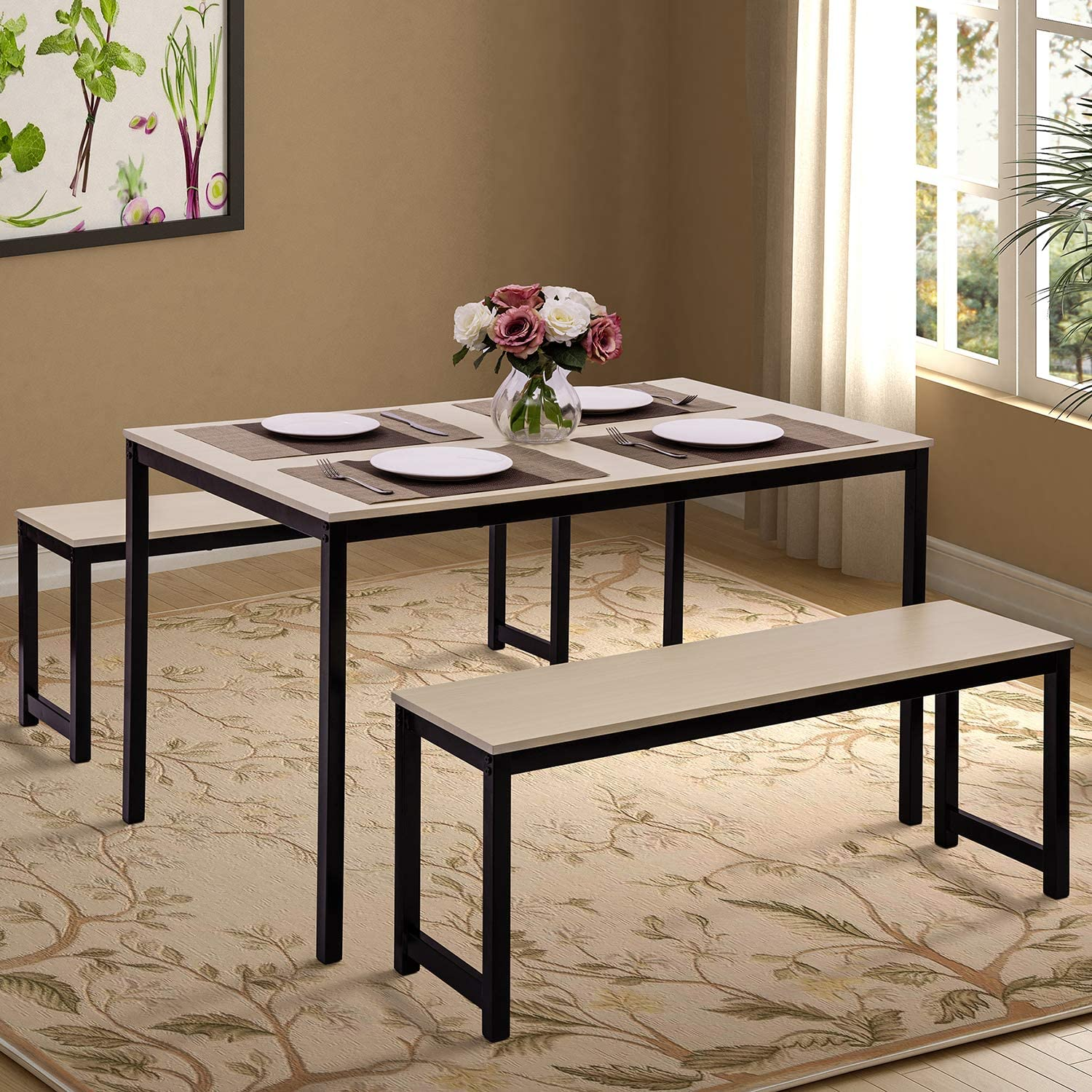 Amazon Com Dining Table Set Hinpia 3 Pieces Modern Kitchen Table Set With 2 Benches Wood Tabletop With Metal Frame Beige Black Table Chair Sets