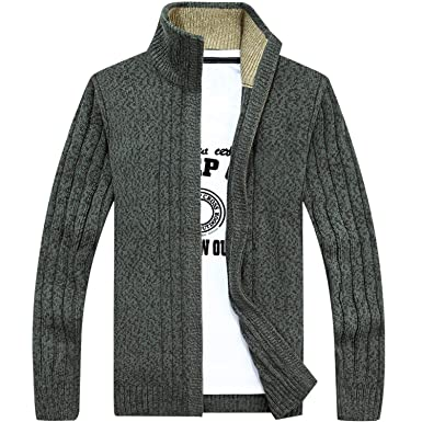 2b9bbc8ba6d Previn Men s Casual Slim Full Zip Thick Knitted Cardigan Long Sleeve  Sweaters Outwear Green US L