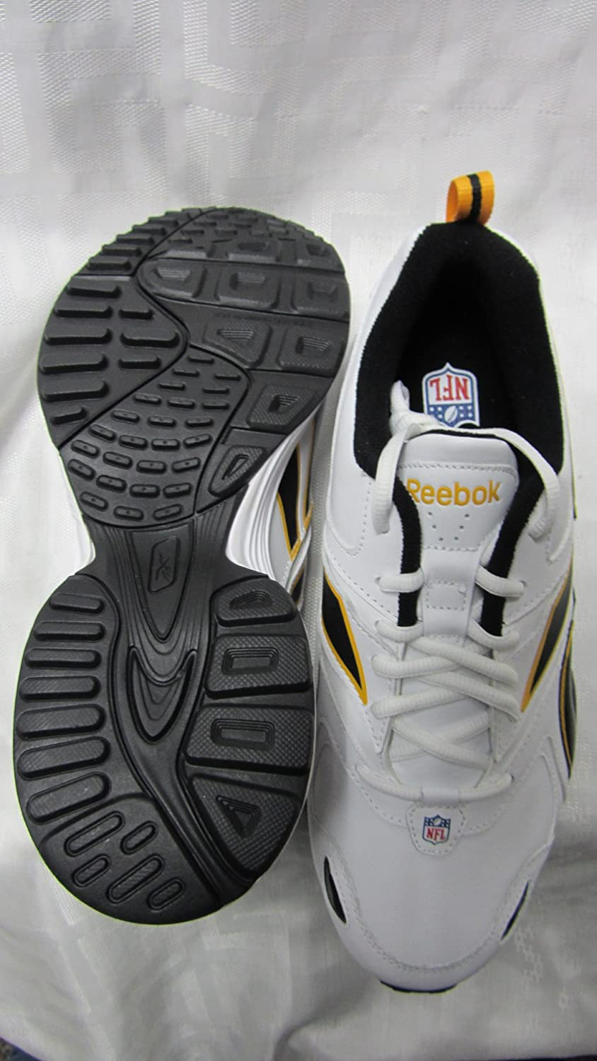 Amazon.com   Reebok Pittsburgh Steelers Mens Size 8 Pro Evaluate Trainer  White Black Gold Shoes Sneakers AMZ-R 146 (F1 1 sz8)   Sports Fan T Shirts    Sports ... d117ab31e