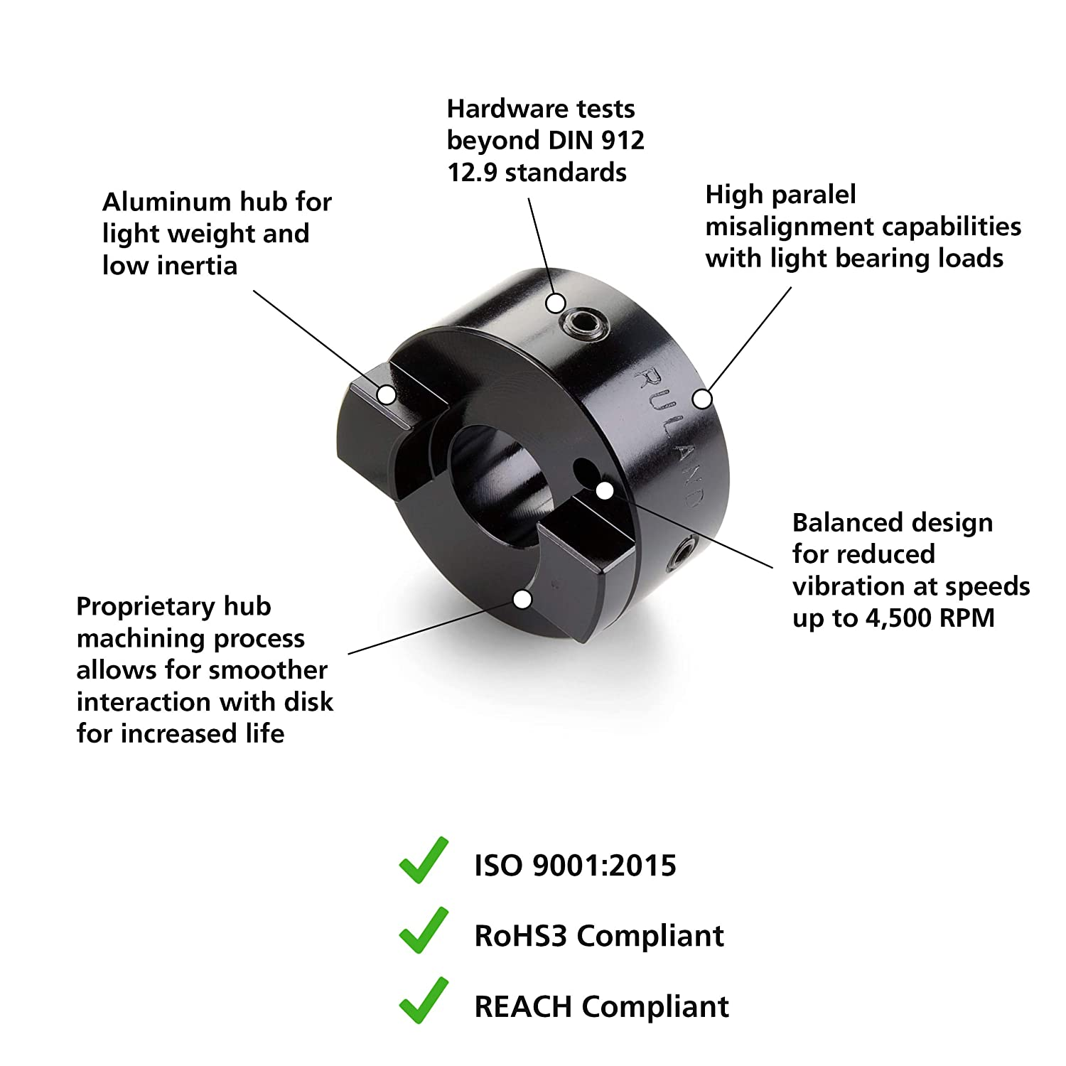 1 OD 1-1//8 Length Black Anodized Aluminum.250 Bore Ruland OST16-4-A Oldham Coupling Hub Set Screw Style