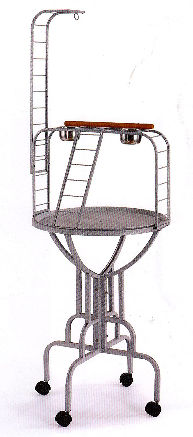 NEW Elegant Design Wrought Iron Parrot Bird Play Gym Ground Stand With Metal Pan & LadderBlack Vein Mcage