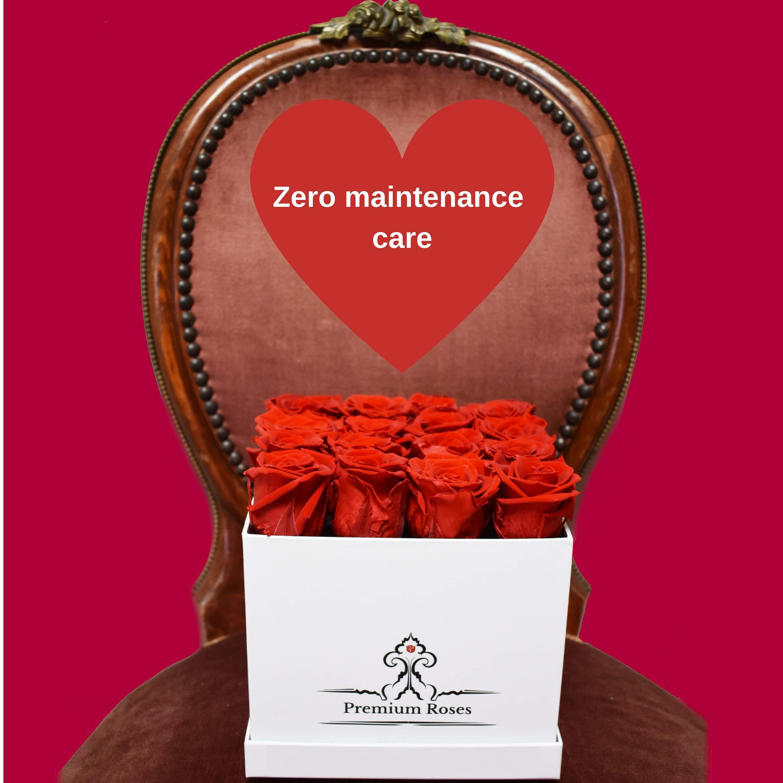 Premium Roses | Model White| Real Roses That Last 365 Days | Fresh Flowers| Roses in a Box (White Box, Medium) by Premium Roses (Image #4)
