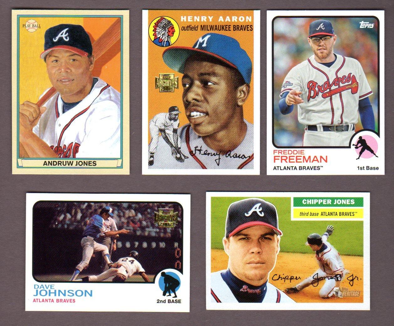 Atlanta Braves 5 Card Heros And Hall Of Famer Reprint Baseball Lot