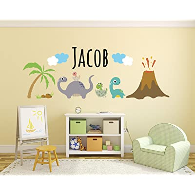 "Personalized Dinosaurs Name Wall Decal - Dinosaur Room Decor - Nursery Wall Decals - Dinosaur Volcano Mural Wall Vinyl Sticker (50"" x 20""): Baby"