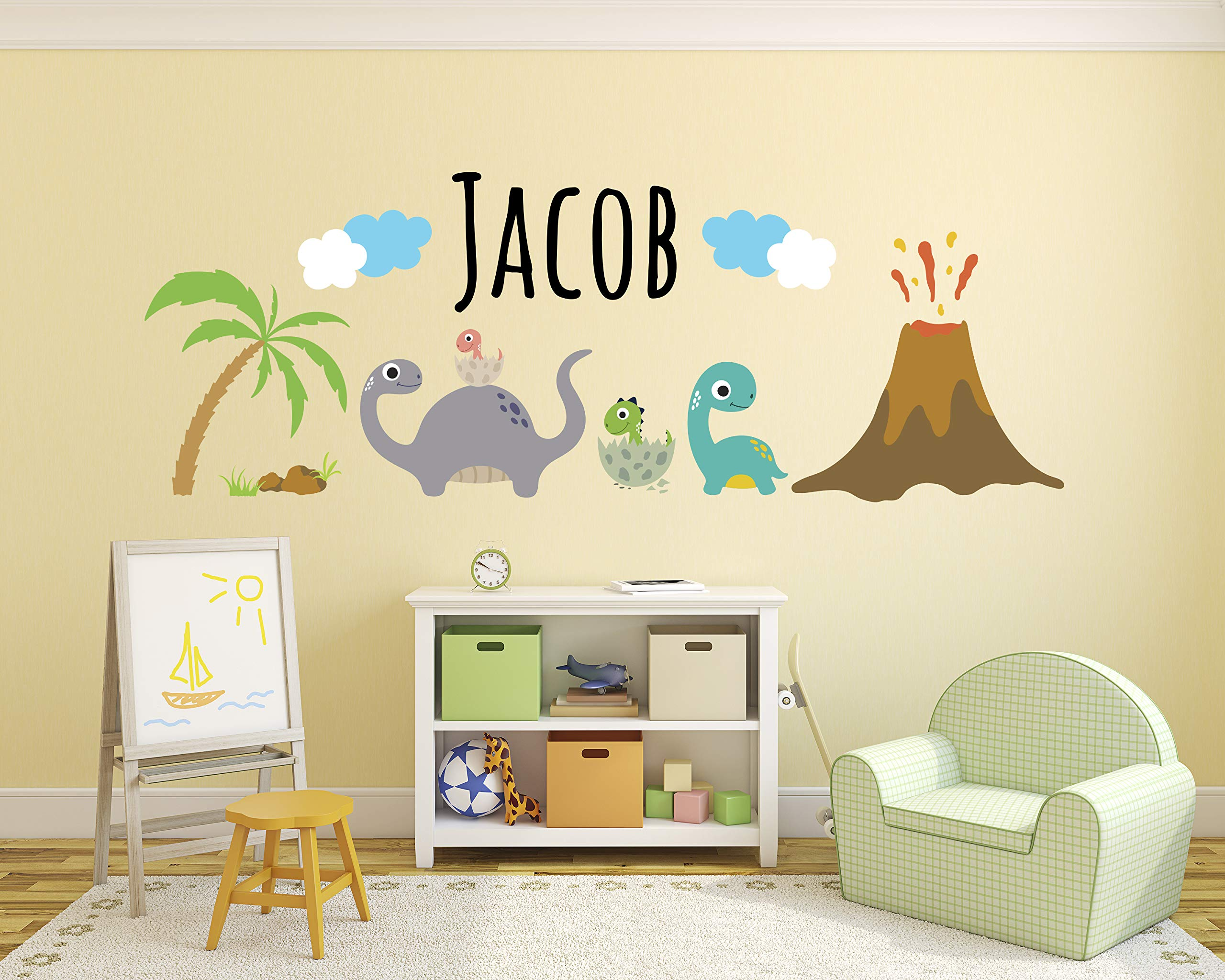 Personalized Dinosaurs Name Wall Decal - Dinosaur Room Decor - Nursery Wall Decals - Dinosaur Volcano Mural Wall Vinyl Sticker (80'' x 30'') by Decalzone Inc