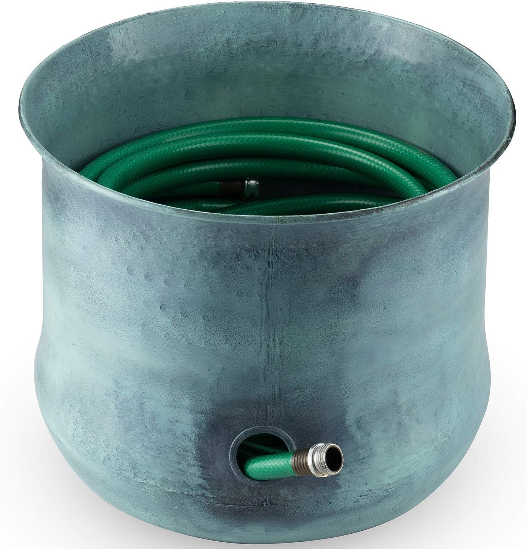 LifeSmart Decorative Garden Hose Holder Water Hose Storage Pot Outdoor or Indoor Use Updated for November 2020 (Green)