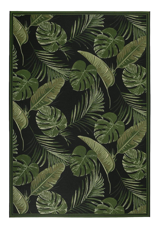 Luxor Living Design Teppich mit Blätter-Print   In- & Outdoor   Dschungel Style, Größe 123 x 180 cm, Farbe Schwarz-Grün Labuka
