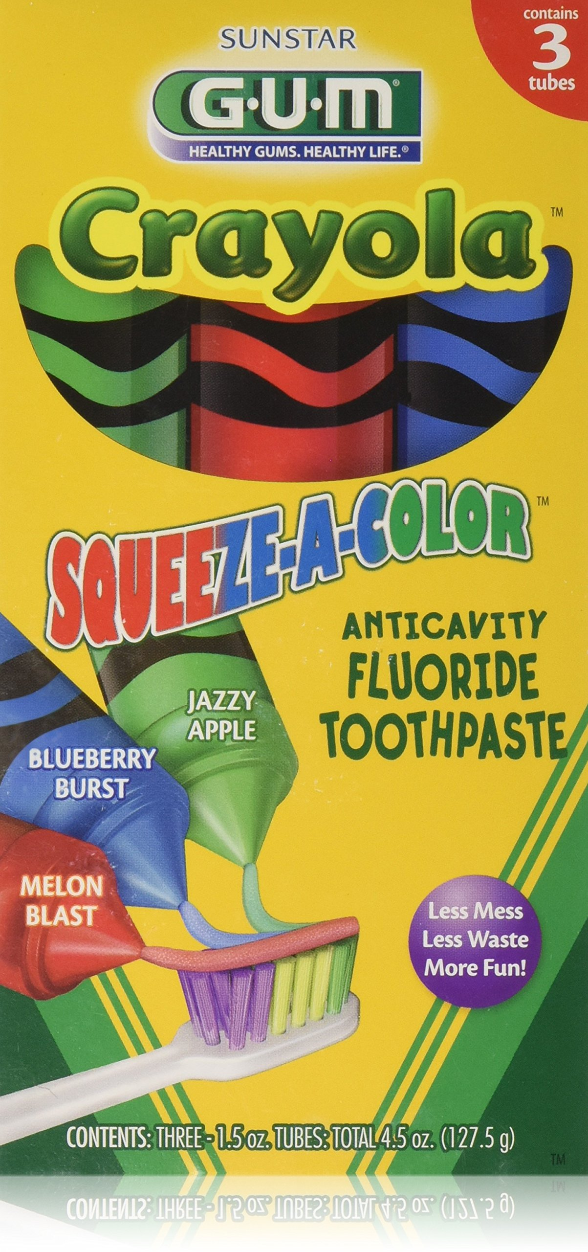 GUM Crayola Squeeze-A-Color Toothpaste, 3- 1.5oz Tubes