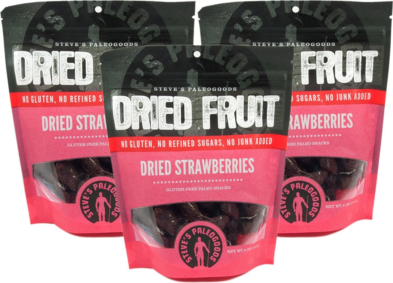 Steve's PaleoGoods, Dried Fruit Strawberries, 6 oz (Pack of 3)