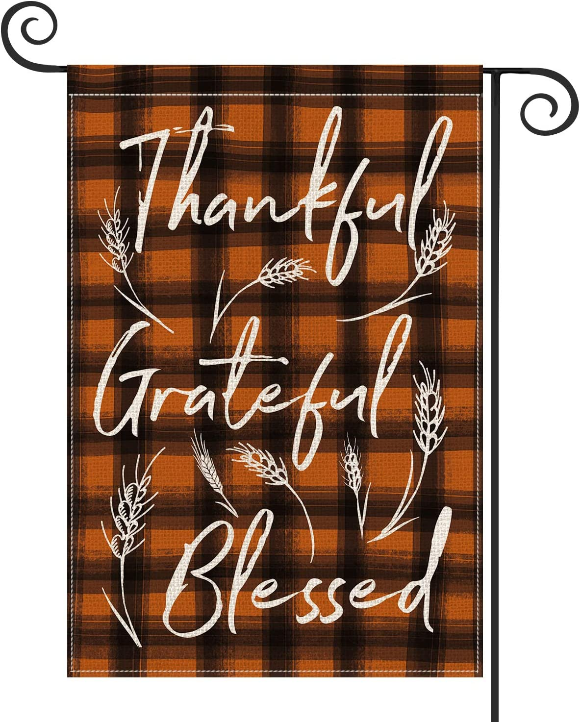 AVOIN Fall Watercolor Buffalo Check Plaid Garden Flag Vertical Double Sided, Thankful Grateful Blessed Autumn Thanksgiving Yard Outdoor Decoration 12.5 x 18 Inch