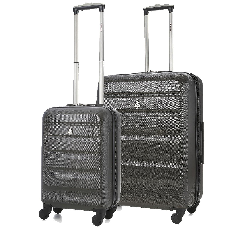 Aerolite Leichtgewicht ABS Hartschale 4 Rollen Trolley Koffer Reisekoffer Hartschalenkoffer Rollkoffer Gepäck 55cm + 69cm, Kohlegrau