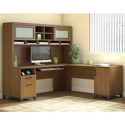 Bush L Shaped Desk With Hutch Tabletop Standing Desk