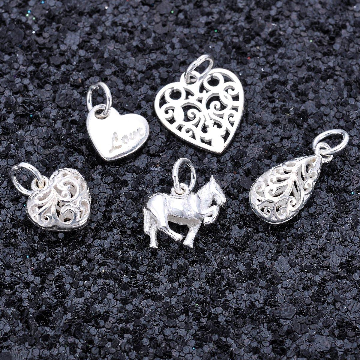 YF 3pcs 925 Sterling Silver Hollow Vine Heart Pendant Charm Findings DIY Jewellery Making 10.5mmx10mm