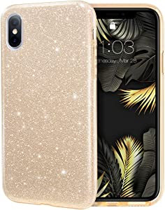 MILPROX iPhone Xs MAX Case Glitter Luxury Shiny Sparkly Silm Bling Crystal Clear, 3 Layer Hybrid, Protective Soft Case for iPhone X MAX(2018)- (Gold)