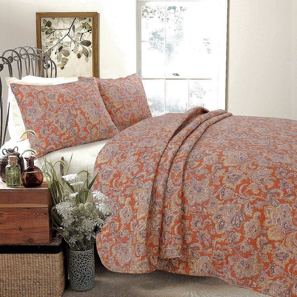Cozy Line Home Fashions NEW Arrival ! Lara Spice Paisley 3-piece Quilt Bedding Set, Red/Brown/Floral Flower Vintage Printed 100% COTTON Reversible Coverlet Gifts for Women(Brick Red, Queen - 3 piece)