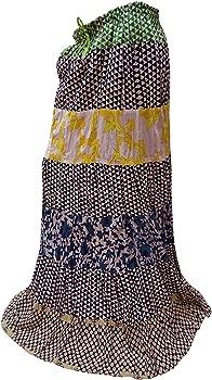PEEGLI Falda India para Mujer Algodón Blanco Cintura Elástica Ropa ...