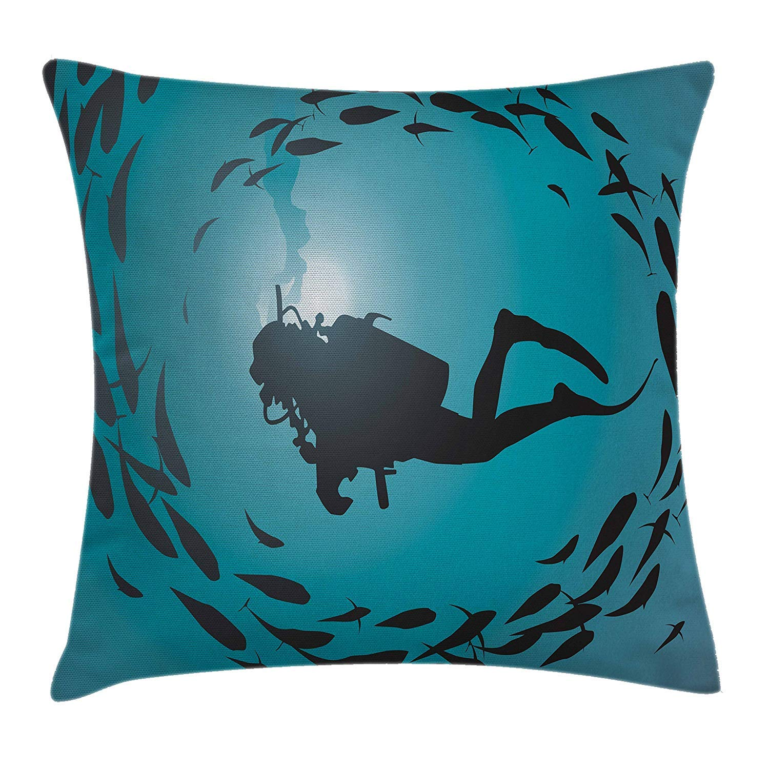 Decorative Square Accent Pillow Case 18 X 18 inches Diver Surrounded with Jamb of Fishes Scuba Snorkel Aqualung Water Sports Under The Sea Throw Pillow Cushion Cover Dark Blue Aqua