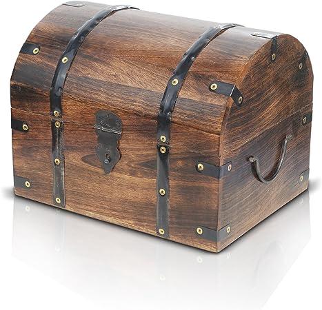 Brynnberg Caja de Madera con candado Modelo: Tradesman Gran |Cofre del Tesoro Pirata de Estilo Vintage | Hecha a Mano | Diseño Retro |: Amazon.es: Hogar