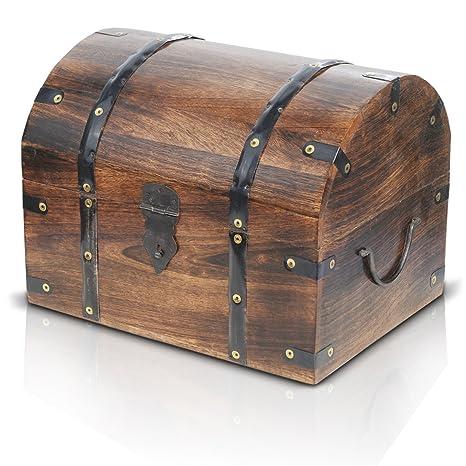 Brynnberg Caja de Madera con candado Modelo: Tradesman Gran |Cofre del Tesoro Pirata de