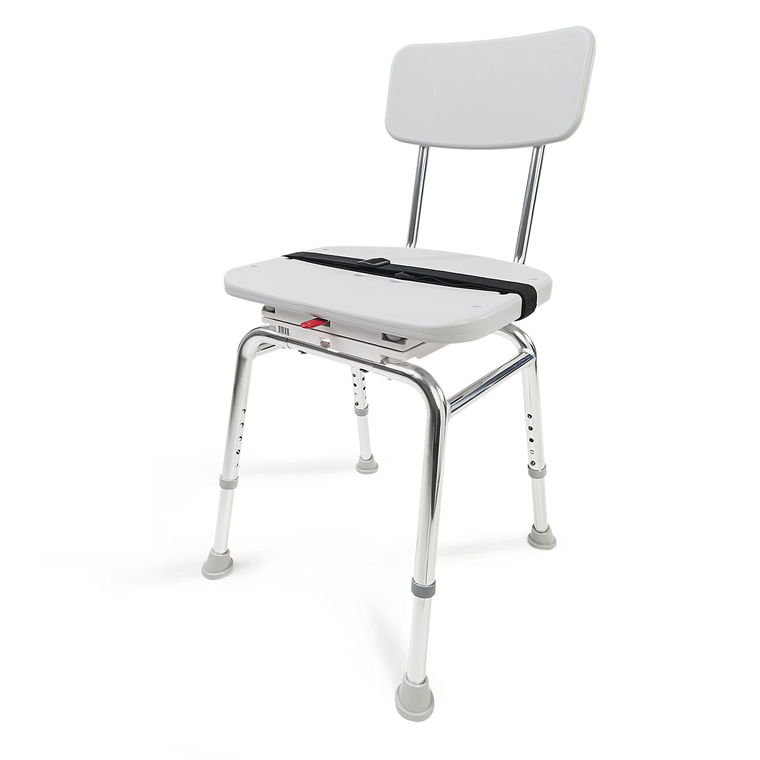 Eagle Health Supplies Adjustable Height Bath and Shower Chair with Swivel Seat, No Tool Assembly