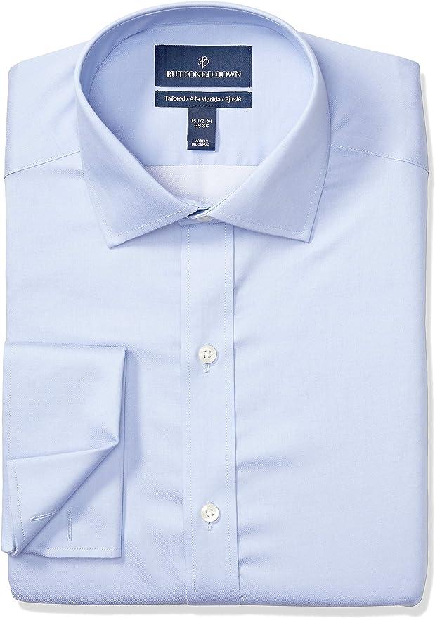 Marca Amazon - BUTTONED DOWN – Camisa de vestir con puño francés de corte ligeramente entallado con cuello abierto de algodón Supima para hombre que no necesita planchado: Amazon.es: Ropa y accesorios