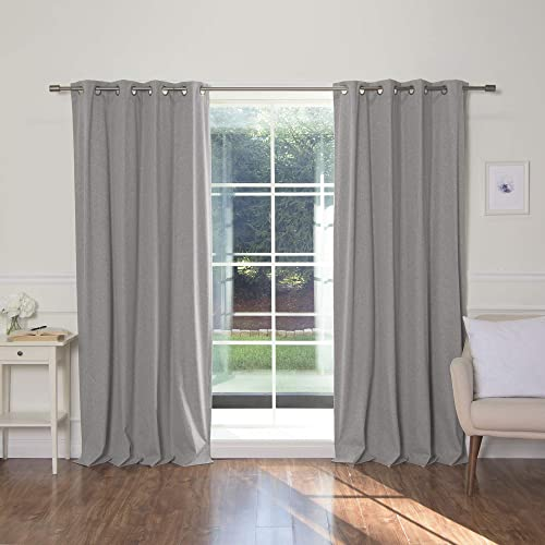 Best Home Fashion Linen Textured Grommet Thermal Total Blackout Curtains – Grey – 52 W X 96 L
