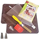Macaron Baking Kit | French Macaroon Making TAILORED FOR STARTERS - Set with 2 Silicone Mats, Piping Bag, Silicon…