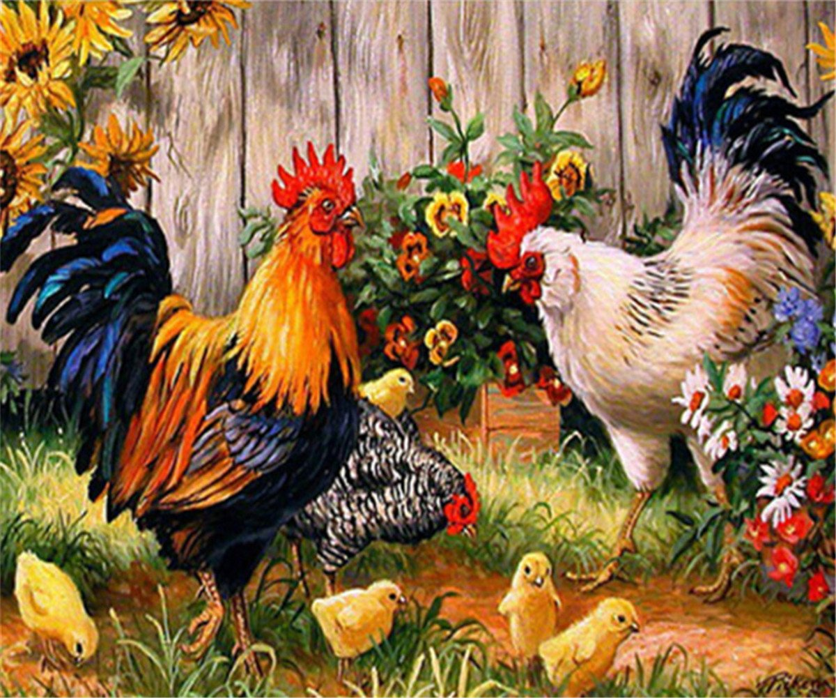 5D Diamond Painting Kit Full Drill DIY Rhinestone Embroidery Cross Stitch Arts Craft for Home Wall Decor Chickens 14x18inch EOBROMD