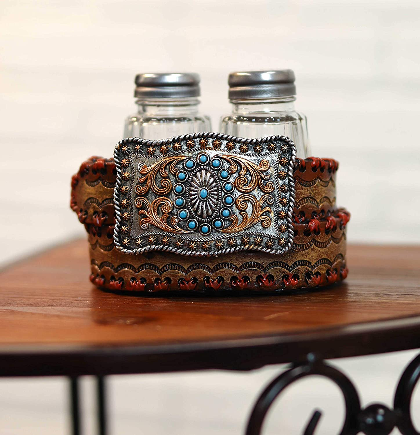 Ebros Western Turquoise Sun With Floral Lace On Belt Buckle And Coiled Strap Decorative Salt And Pepper Shakers Set Holder Resin Figurine With 2 Glass Shakers Southwestern Native American Themed Decor